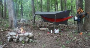Hammock camping in the woods solo