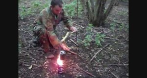 Bushcraft cooking : adjustable swinging pot stand