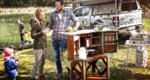 Camp Champ neatly packs a full camp kitchen into a wooden trunk
