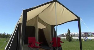 Deluxe Tent Canvas Awning with Camping Chairs