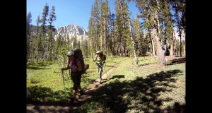 Hiking Backpacks Through Ansel Adams Wilderness With Camping Gear