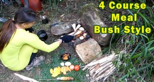 How to Cook flame grilled 4 course meals Bushcraft style