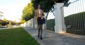 Morning Walk Outdoors (Crossdresser Skirt Jacket Heels)