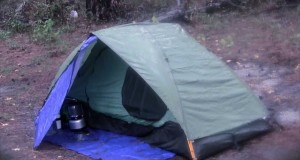 Tent Camp in the Rain and Stay Dry, Eureka Backcountry 1 Tent with Homemade Vestibule